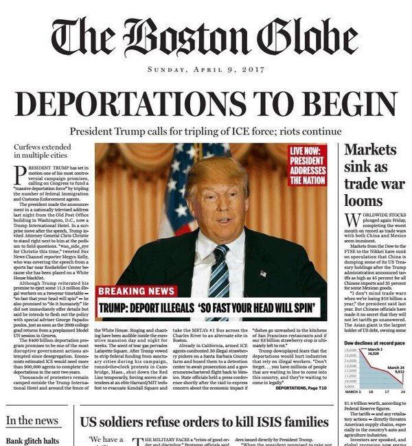 Boston Globe fake news page.